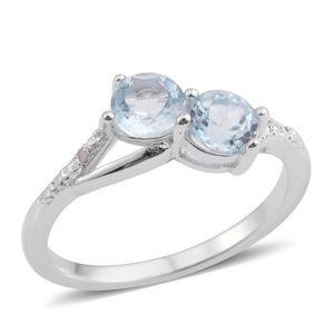 Sky Blue Topaz, Quartsite Silvertone Ring (Size 7.